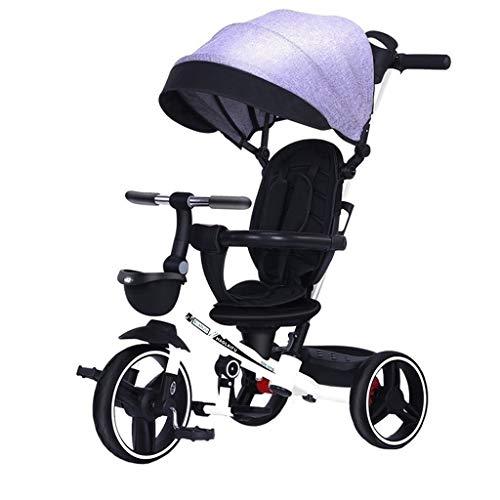 Carrito de bebé plegable Triciclo portátil para niños juguetes de pasajeros salientes con toldo 3 opciones de color regalo para niños (color: gris)