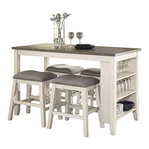 Lexicon 5-Piece Counter Height Dining Set, Antique White