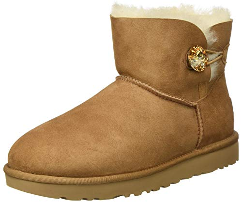 UGG Female Mini Bailey Button Bling Classic Boot, Chestnut/Gold, 8 (UK)