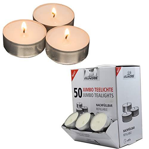 Smart-Planet® Kerzen Ambiente XXL - 50 Stück Jumbo Teelichter große Teelichte Set im Spender - weiß - 8 Stunden Lange Brenndauer - Großpackung