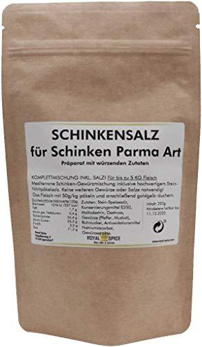 Royal Spice Schinkensalz für Schinken Parma Art - 250g für 5 Kg Fleisch - Fertige Gewürzmischung mit Pökelsalz zum Schinken machen - Einfache Anwendung & Ausgezeichneter Geschmack
