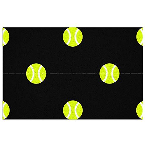 Felpudo negro con diseño de pelota de tenis con respaldo de PVC resistente – Bienvenida – Tamaño: 23.6 x 15.7 pulgadas – pelo – Color perfecto para uso en interiores y exteriores.