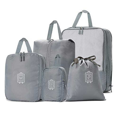 5Set/7Set Travel Luggage Packing Organizers Durable Packing Cubes with Laundry Bag and Shoe Bags