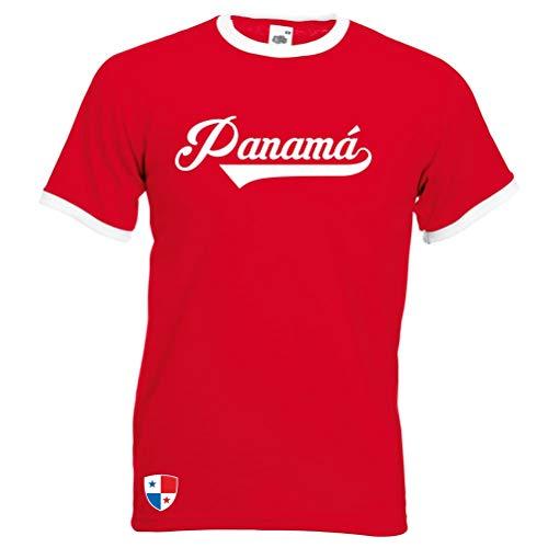 Panama Ringer Retro TS - Rot - WM 2018 T-Shirt Trikot Look (L)
