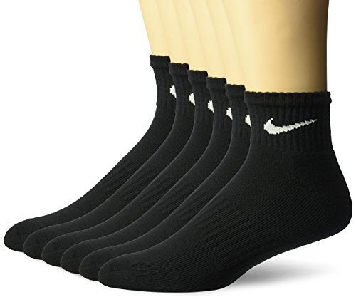 NIKE Unisex Performance Cushion Quarter Socks with Band (6 Pairs), Black/White, Medium