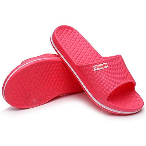 Harrms Damen Badeschuhe Slippers Slide Duschschuhe Hausschuhe Strandschuhe Shower Indoor Outdoor schnell trockend Badelatschen Schlupf Strand rutschfest Baden Einfarbig,Hell Rot,40 EU