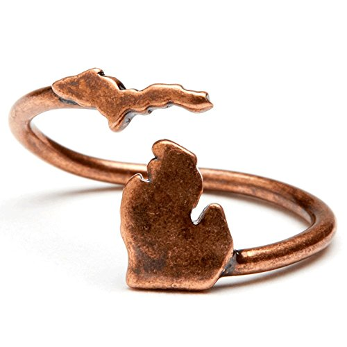 Stone Armory State of Michigan Ring   Michigan Map Ring - Adjustable   Michigan Jewelry   Michigan Gifts (Antique Copper Plated Brass)