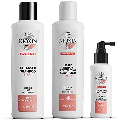 NIOXIN - Kit de 3 pasos - Tratamiento para Cabello Teñido Ligeramente Debilitado (Champú 300 ml - Acondicionador 300 ml - Tratamiento 100 ml) - Sistema 3
