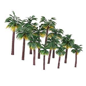 WINOMO 12pcs Plastic Artificial Trees Layout Rainforest Palm Tree Diorama Scenery