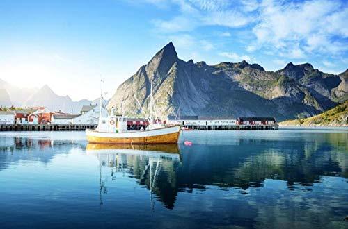 3d wandbild, norwegen berge häuser meer motorboot tapete, hotel restaurant wohnzimmer sofa tv wand schlafzimmer tapete-300 * 210cm
