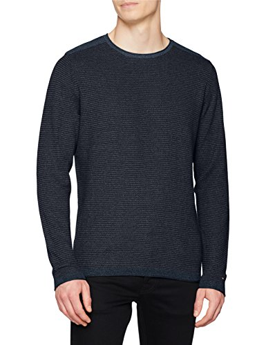 Tommy Hilfiger Herren Textured Denim Look Sweater Pullover, Blau (Vintage Indigo Htr 094), Large