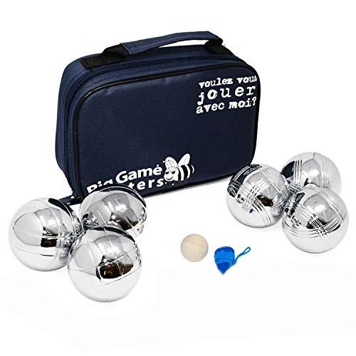 Big Game Hunters Boule 6 Kugel Set mit Rostschutz - 3 Haltbare Polierte Metallkugeln pro Spieler mit Gravierten Motiven in Einer Canvas-Tasche
