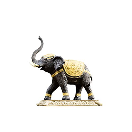 SHYPT Handgeschnitzte hölzerne Blumen Sammlerstück Elefant Skulptur Figur - Tabelle & Home Dekorationen