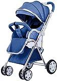 SYue Carro de bebé de Dos vías Un botón Puede Sentarse Reclinable Absorbente de Golpes Ultraligero Portátil Plegable Viaje Bebé recién Nacido Niño Llevar