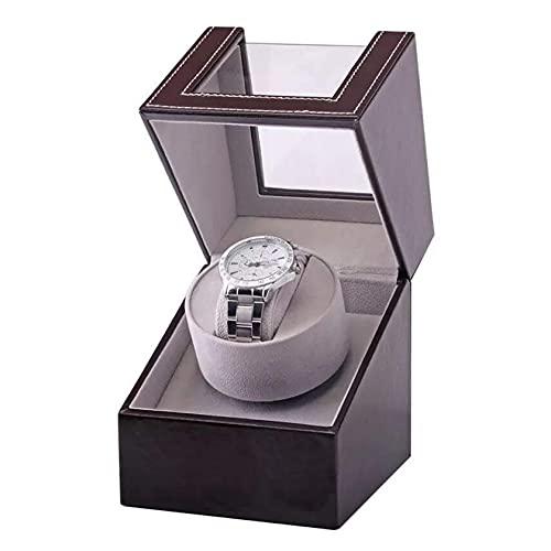 N\C Enrollador automático de un Solo Reloj, enrollador automático de un Solo Reloj para Hombres y Mujeres, en Carcasa de Madera y Cuero Negro, Motor japonés QZQQ