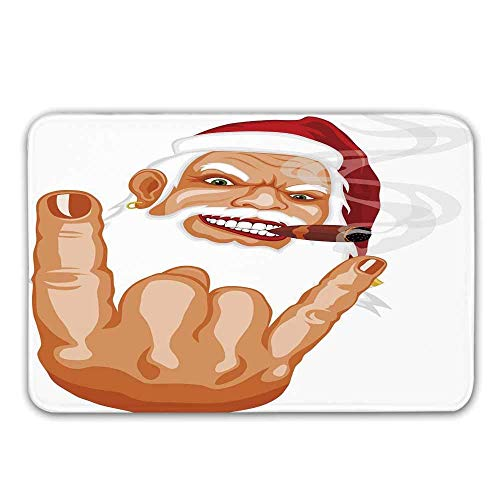 Alfombra de goma antideslizante de la entrada de Navidad, Papá Noel que hace el ratón Mecedora Gesticular Fumar...