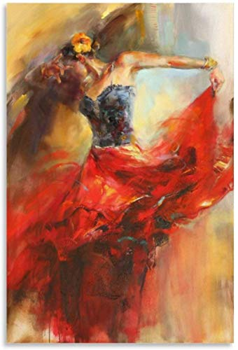 SXXRZA Impressions pour Murs 70x90cm Pas de Cadre Danse Fille Art Peinture Danseuse de Flamenco Affiche décor Toile Mur Art Salon Affiches Chambre Peinture