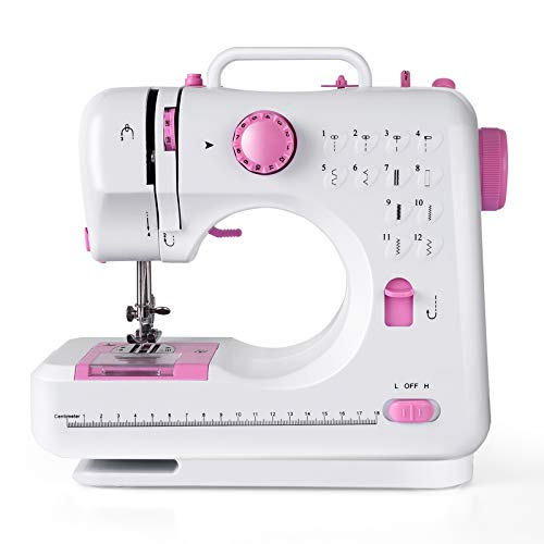 COSTWAY Electric Multifunctional Sewing Machine, 12 Stitches Automatic Threading Portable Sewing Machine with Light Free Arm Battery, DC Adapter, Adjustable Sewing Speed (Pink+White)