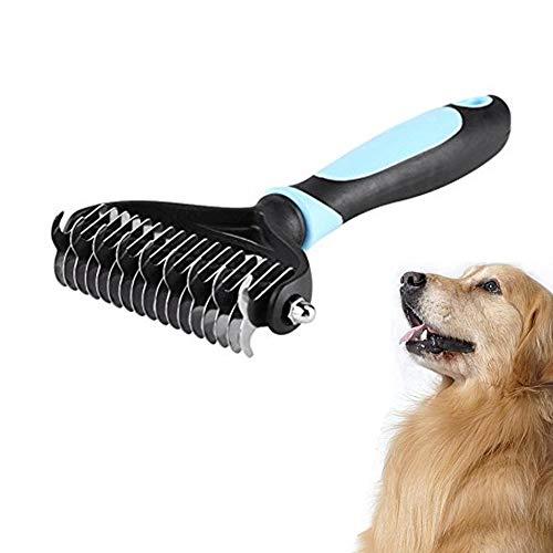 Herramienta profesional de descarga de mascotas, peine de rastrillo 9 + 17 de doble cara para eliminar el nudo, cepillo de rastrillo para mascotas para perros y gatos S / M / L