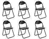 Chaise de cuisine Ensemble de 6 Chaise pliante Chaise pliante Chaise invité Chaise de jardin Métal en noir assise et dossier...