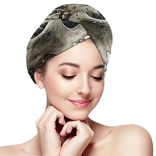 Skull Moon and Stars Number Microfiber Hair Towel Wraps with Button for Women Quick Dry Anti-frizz Head Turban for Long Thick Curly Hair Super Absorbe
