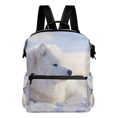 Mochila escolar grande acostada perro blanco mochilas casual viaje básico estudiante libro bolsa para niños niñas niños