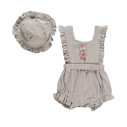 WFRAU Baby Strampler Mädchen Ärmellos Einfarbig Blumen Geraffte Overalls+Hut Schlafanzug Säugling Spielanzug Baby-Nachtwäsche Hosen Tops Jumpsuit Outfit Bodysuit Kimono