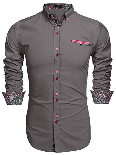Coofandy Camisa Casual Manga Larga Para Hombre de Moda Gris Talla-L