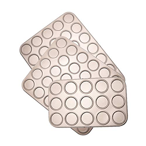 GUITU Nonstick Bakeware Set Brioche 15/30/35 Holes Bakeware Carbon Steel Non-Stick Kitchen Biscuit Pad Macaron Pan Baking Tray(3pcs)