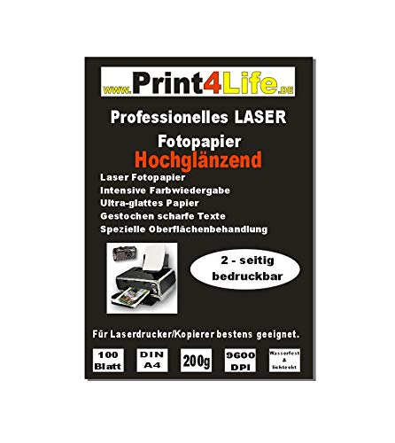 Print4Life 100 Blatt DIN A4 200g/m² BEIDSEITIG hochglänzendes Fotopapier (High Glossy) für Laserdrucker/Kopierer