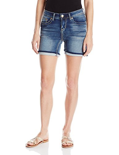 Seven7 Women's Cuffed 5 Inch Denim Short with Embroidered E Loop Pockets, Madison, 4