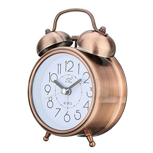 JSJJAYU Reloj despertador retro vintage con puntero de silencio y números redondos (Farbe: latón antiguo)
