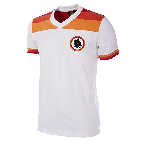 As Roma 1978-79 Away Retro Football Maglietta Uomo, Bianco, L
