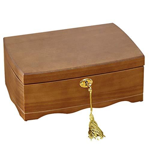 DLYDSSZZ Uhr-Kasten Retro Massivholz-Schmuck-Box-mechanische Uhr-Sammelbox Fächer for Manschettenknopf Ringe Ketten als Geschenk Uhrenboxen (Color : Brown, Size : 26 * 18 * 10 cm)