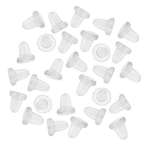 Tofree 100 Stück Kunststoff-Ohrring-Rückseite, Gummi-Ohrring-Verschlüsse, Clutch, Ohrstecker, Stopper-Stecker