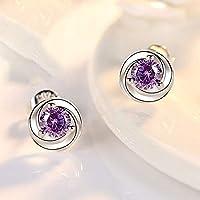 LKSPD 女性の結婚式の婚約のためのスターリングシルバーフラワースタッドピアススウィートデザインジュエリーギフト (Color : Purple)