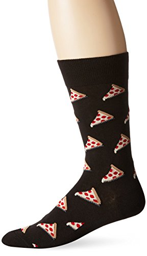 Hot Sox Men's Food and Booze Novelty Casual Crew Socks, Pizza (Black), Shoe Size: 6-12