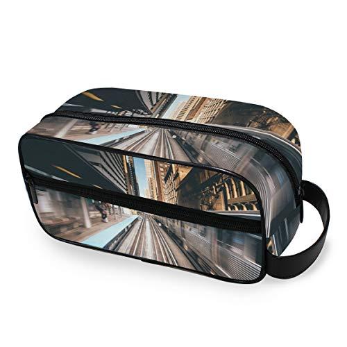 Trousse de toilette Poches City Train Station Tools Cosmetic Train Case Travel Portable Makeup Bag Storage