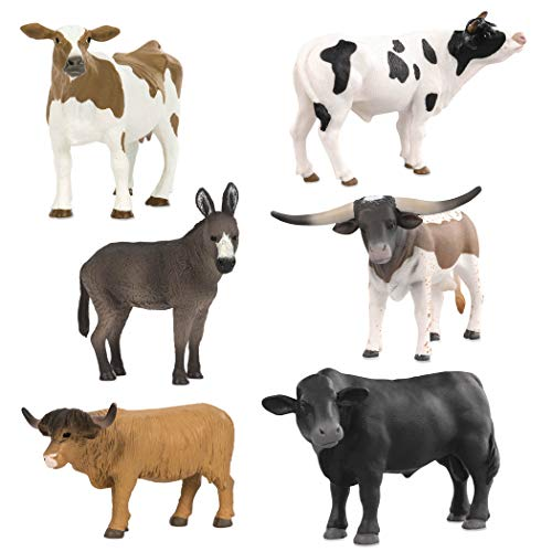 Terra by Battat – Farm Animal Set – Realistic Cow Toys, Bull Toys, and Farm Animal Toys for Kids 3+ (6 pc)