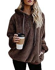 Vertvie Damespullover met capuchon en eenkleurige truien, casual, winter, teddyfleece, lange mouwen, oversized, sweatshirt, mantel tops met capuchon.