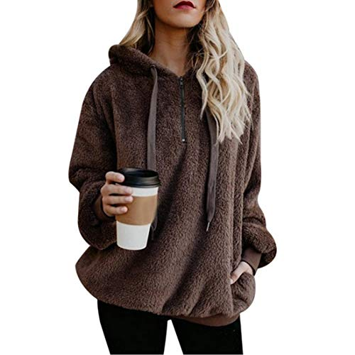 Vertvie Damen Hoodie Kapuzenpullover mit Kapuze und einfarbigen Pullovern Casual Winter Teddy-Fleece Langarm Oversize Sweatshirt Mantel Tops Mit Kapuze(A-Braun, 2XL)
