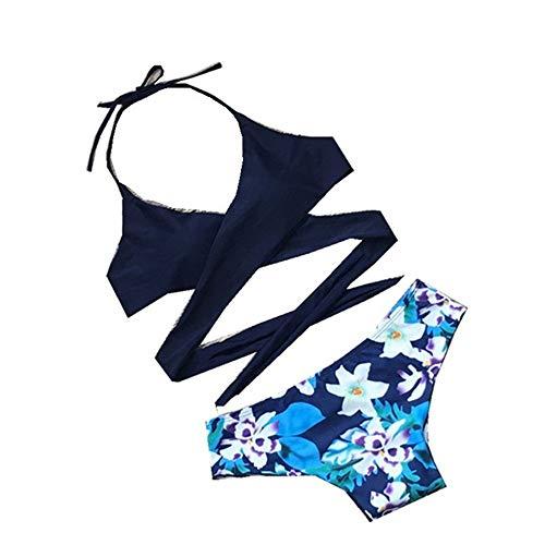 Donna Due Pezzi Elegante Bikini Swimwear Costume da bagno sexy for donna con fasciatura Costume da bagno incrociato All'americana Top imbottito Floreale Bottom Costumi da bagno a due pezzi S-XL Moda M