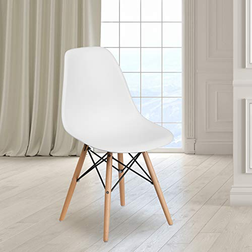Flash Furniture 2 Pack Elon Series White Plastic Chair with Wooden Legs