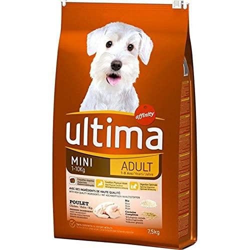 Ultima - Pienso para perros adultos, tamaño mini, 1 – 10 kg, diseño de pollo de arroz, 7,5 kg (lote de 3)