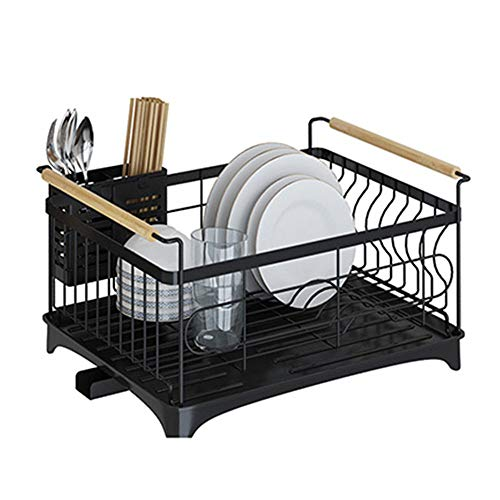 GRTBNH Over Sink Dish Rack, 201 Stainless Steel Kitchen Ish Drainer with Retractable Water Channel, Cutlery Holder for Kitchen Countertop Rustproof,Black