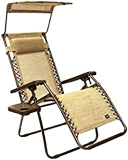 Bliss Hammocks Zero Gravity Chair with Canopy and Side Tray, Sand, 26