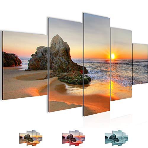 Bilder Sonnenaufgang Strand Wandbild Vlies - Leinwand Bild XXL Format Wandbilder Wohnzimmer Wohnung Deko Kunstdrucke Orang 5 Teilig - MADE IN GERMANY - Fertig zum Aufhängen 609553a