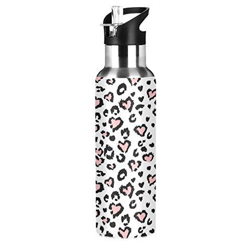 Xigua Botella de agua de ascenso de 600 ml con tapa de popote a prueba de fugas, diseño de leopardo blanco con estampado de corazón rosa, acero inoxidable al vacío, portátil, para viajes, taza de café