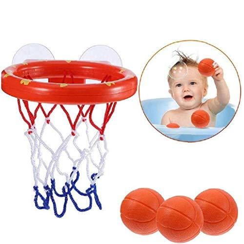 asdfwe Juguetes para Baño, Mini Baloncesto Bañera Disparos Juego Juguetes Set del Aro De Baloncesto con 3 Bolas para Niños Pequeños para Niños