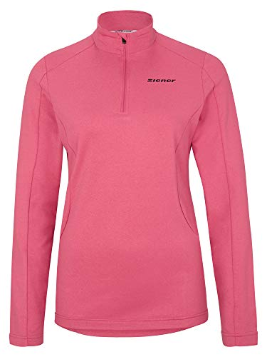 Ziener Damen PALMINE Skipullover, Skirolli, Funktions-Shirt | Langarm, Atmungsaktiv, pink Rouge.Melange, 40